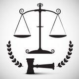 Justicia Scales Symbol Martillo de la ley del vector Foto de archivo