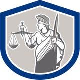 Justicia Sword Shield de señora Blindfolded Holding Scales Fotos de archivo