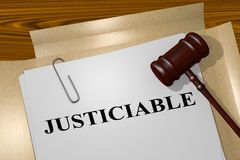 Justiciable - legal concept. 3D illustration of JUSTICIABLE title on legal document Stock Image