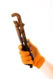 Justierbarer Schlüssel in der Hand Stockfoto
