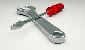 Justierbarer Schlüssel und Schraubenzieher Stockbilder