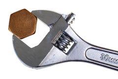 Justierbarer Schlüssel und sechseckige Kappe Lizenzfreies Stockbild