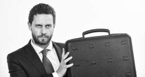 Justification for proposed project or expected commercial benefit. Man hold briefcase. Business profit. Commercial offer. Businessman demonstrate briefcase stock image