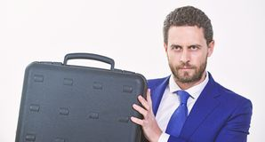 Justification for proposed project or expected commercial benefit. Man hold briefcase. Business profit. Commercial offer. Businessman demonstrate briefcase royalty free stock photos