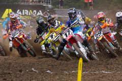 Justin Barcia Holeshot. Rookie Justin Barcia gets the holeshot in his first AMA pro national on a 450 machine. Unidilla Race Track, New Berlin NY. August 13th stock images