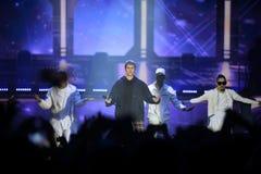 Justin Bieber - fase do concerto da música, dançarinos, sucesso Foto de Stock