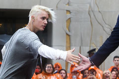 Justin Bieber. NEW YORK-SEP 10: Singer Justin Bieber performs on NBC's 'TODAY Show' at Rockefeller Plaza on September 10, 2015 in New York City stock photography