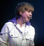 Justin Bieber performs in concert stock image