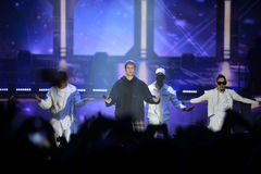Justin Bieber - étape de concert de musique, danseurs, succès Photo stock