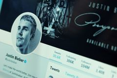 Justin Bieber twitter account. Official account of Justin Bieber on social media network twitter. Justin Bieber is a Canadian singer and songwriter royalty free stock photography
