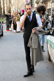 Justin oshea vinter 2015 2016 för höst för streetstyle för Milano, milan modevecka Royaltyfri Bild