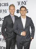 Justin Paul and Benj Pasek. Justin Paul and Benj Pasek arrive for the 2017 Tony Awards Meet the Nominees Press Junket at the Sofitel New York Hotel on May 3 Royalty Free Stock Photography