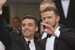 Justin Timberlake and Oscar Isaac. CANNES, FRANCE - MAY 19: Justin Timberlake and Oscar Isaac attend 'Inside Llewyn Davis' Premiere during the 66th Cannes Film royalty free stock photos