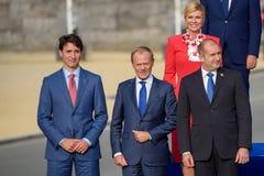 Justin Trudeau, Donald Tusk, Kolinda Grabar Kitarovic und Ruman Radev stockbilder
