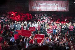 Justin Trudeau election rally. BRAMPTON - OCTOBER 4 :Justin Trudeau along with his party members during an election rally of the Liberal Party of Canada on royalty free stock photo