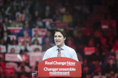 Justin Trudeau election rally. BRAMPTON - OCTOBER 4 :Justin Trudeau in an angry mood during an election rally of the Liberal Party of Canada on October 4, 2015 royalty free stock images