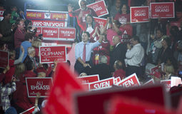 Justin Trudeau election rally. BRAMPTON - OCTOBER 4 :Justin Trudeau while being surrounded by his supporters during an election rally of the Liberal Party of stock photos