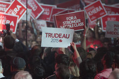 Justin Trudeau election rally. BRAMPTON - OCTOBER 4 : Followers waiving a `Trudeau` sign with during an election rally of the Liberal Party of Canada on October royalty free stock photos