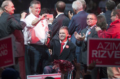 Justin Trudeau election rally. BRAMPTON - OCTOBER 4 :A Liberal party MP candidate on wheelchair during an election rally of the Liberal Party of Canada on stock photo
