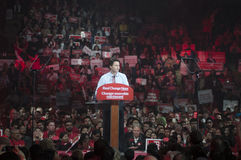 Justin Trudeau election rally. BRAMPTON - OCTOBER 4 :People listening to Justin Trudeau during an election rally of the Liberal Party of Canada on October 4 stock photos