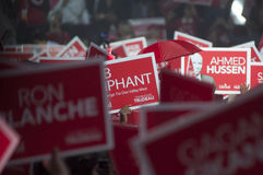 Justin Trudeau election rally. BRAMPTON - OCTOBER 4 :Red signs and banners during an election rally of the Liberal Party of Canada on October 4, 2015 in Brampton royalty free stock photo