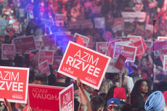 Justin Trudeau election rally. BRAMPTON - OCTOBER 4 :Red signs and banners during an election rally of the Liberal Party of Canada on October 4, 2015 in Brampton royalty free stock photography