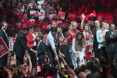 Justin Trudeau election rally. BRAMPTON - OCTOBER 4 :Justin Trudeau shaking hands with his supporters during an election rally of the Liberal Party of Canada on royalty free stock photo