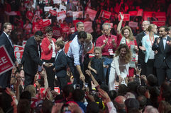 Justin Trudeau election rally. BRAMPTON - OCTOBER 4 :Justin Trudeau shaking hands with his supporters during an election rally of the Liberal Party of Canada on royalty free stock photography