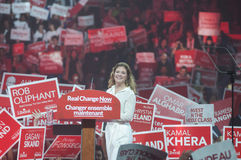 Justin Trudeau election rally. BRAMPTON -OCTOBER 4:Sophie Trudeau -wife of Justin Trudeau in a lighter mood while speaking to the crowd  during an election rally Royalty Free Stock Image