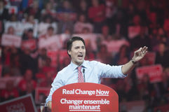 Justin Trudeau election rally. BRAMPTON - OCTOBER 4 :Justin Trudeau speaking in an election rally of the Liberal Party of Canada on October 4, 2015 in Brampton stock image