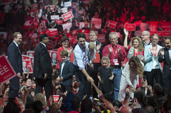 Justin Trudeau election rally. BRAMPTON - OCTOBER 4 : Supporters of Justin Trudeau reaching out to him during an election rally of the Liberal Party of Canada on stock photos