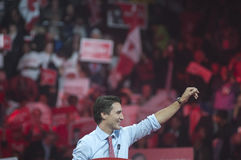 Justin Trudeau election rally. BRAMPTON - OCTOBER 4 :Justin Trudeau waiving towards the crowd during an election rally of the Liberal Party of Canada on October stock photo