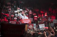 Justin Trudeau election rally. BRAMPTON - OCTOBER 4 :Justin Trudeau waving to his followers while entering the arena during an election rally of the Liberal royalty free stock images