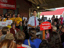 Justin Trudeau Election Speech Sussex. Federal Liberal Party leader Justin Trudeau visits Sussex, New Brunswick, Oct. 7 in the 2015 Canadian federal election stock image