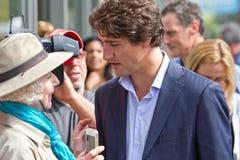 Justin Trudeau Scrum lizenzfreies stockfoto