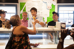 Justin Trudeau serves Cows Ice Cream Royalty Free Stock Image