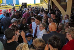 Justin Trudeau Sussex Crowd Election. Federal Liberal Party leader Justin Trudeau visits Sussex, New Brunswick, Oct. 7 in the 2015 Canadian federal election stock photos