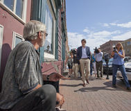 Justin Trudeau Talks To Panhandler. Justin Trudeau talks to William Brown of Charlottetown, PEI. Justin was on Prince Edward Island while the Liberal Party of stock photo