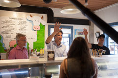 Justin Trudeau Waves inside Cows Royalty Free Stock Photos