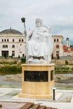 Justinian der Statue des Kaisers Stadtzentrum herein von Skopje stockfotografie
