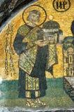 Justinian, ein Baumuster der Kirche anbietend Stockbilder