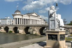 Justinian I Monument and Alexander the Great square in Skopje, Republic of Macedonia Royalty Free Stock Image