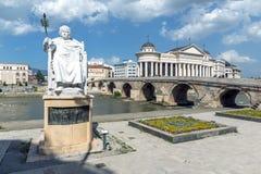 Justinian i-Monument und Alexander der Große quadrieren in Skopje, die Republik Mazedonien Stockfotos