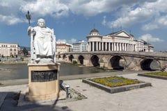 Justinian i-Monument und Alexander der Große quadrieren in Skopje, die Republik Mazedonien Lizenzfreies Stockfoto