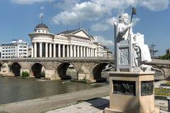 Justinian i-Monument und Alexander der Große quadrieren in Skopje, die Republik Mazedonien Lizenzfreies Stockbild