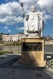 Justinian i-Monument und Alexander der Große quadrieren in Skopje, die Republik Mazedonien Lizenzfreie Stockbilder