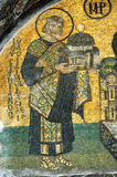 Justinian offering a model of the church. Hagia Sofia, The medieval Mosaic above the Splendid Gate in the west, Justinian offering a model of the church to Mary Stock Images