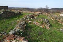 Justiniana Prima, Roman Byzantine stad, fästningväggar arkivfoton