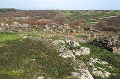 Justiniana Prima, Roman Byzantine stad, fästningväggar royaltyfri bild