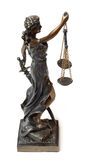 Justitia. Statue from a justitia.  Full isolated on white Stock Photo